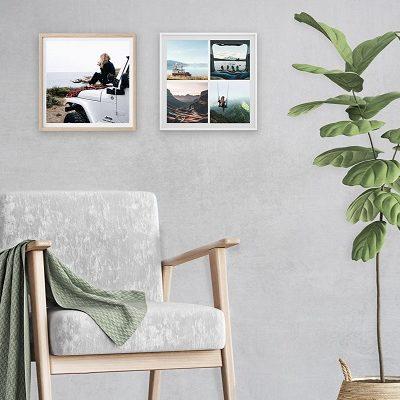 הדפסת תמונות עם מסגרת עץ מרובעת